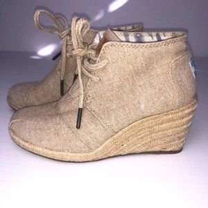 Toms Natural Burlap Wedge Lace Up Ankle Boots Bootie